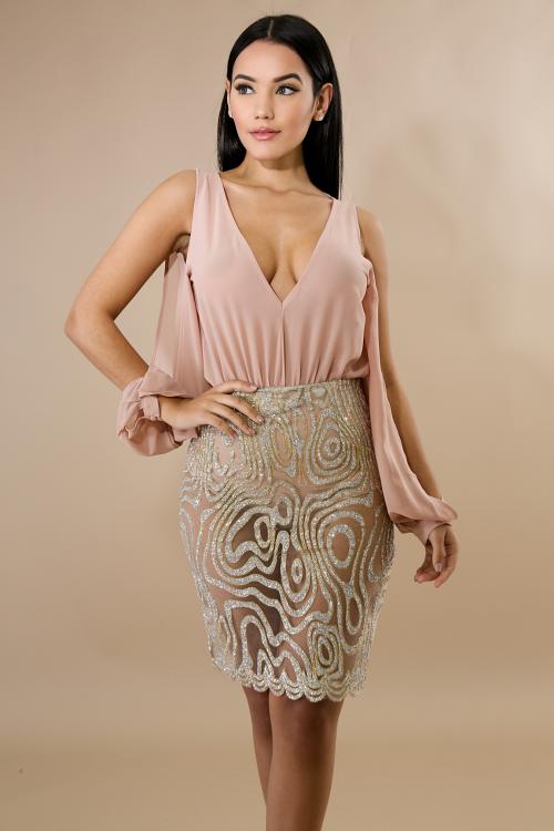 Glitter Encrusted Midi Skirt  Set
