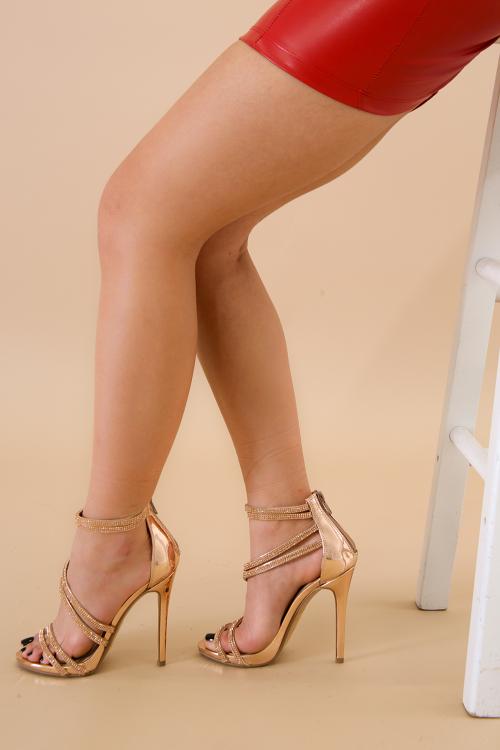 Spiral Rhinestone Open Toe Stiletto Heel
