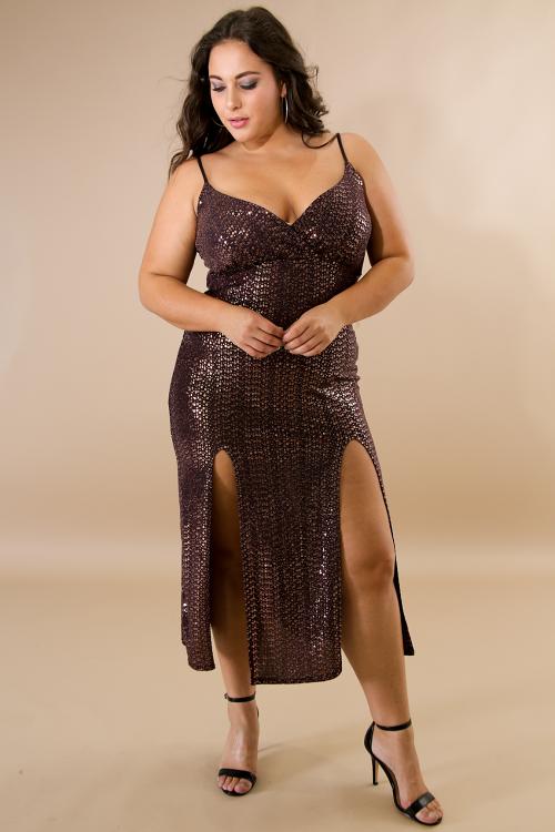 Sequin Slits Midi Dress