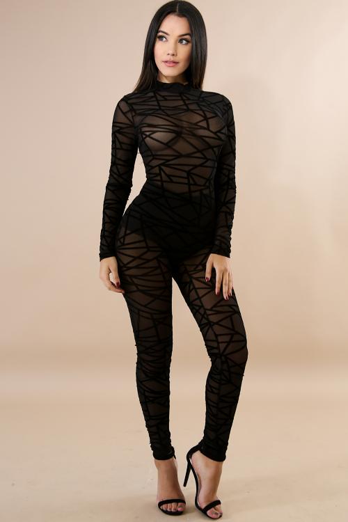 Asymmetrical Sheer Jumpsuit
