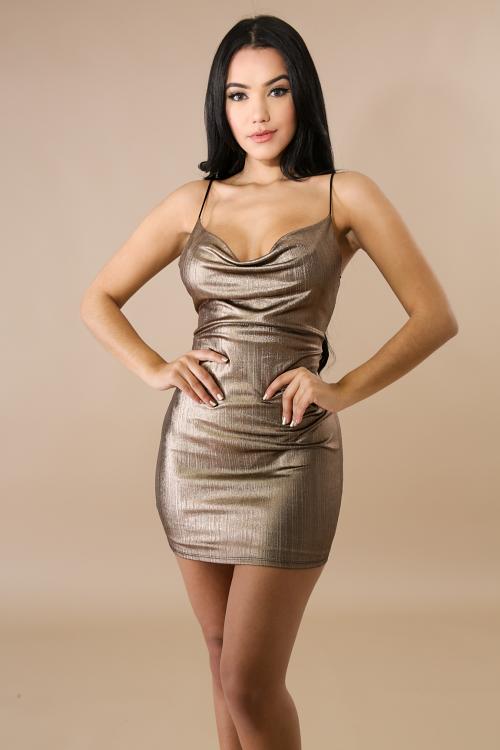 Streaks Metal Body-Con Dress