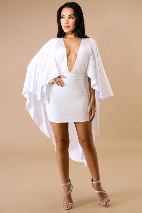 Long Cape Mini Dress