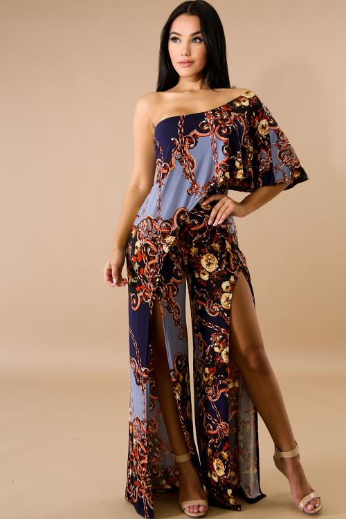 Madam Floral Chain Slit Jumpsuit