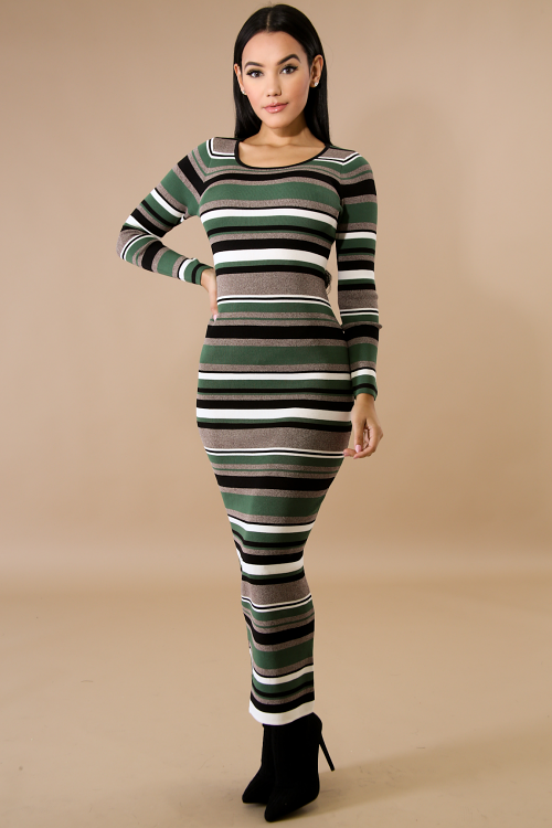 Striped Knit Long Sleeve Maxi Dress