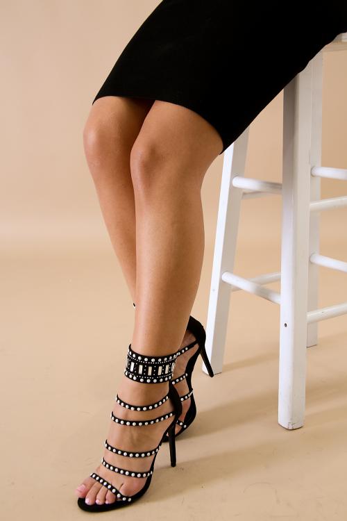 Pearl Spiral Open Toe Stiletto Heel