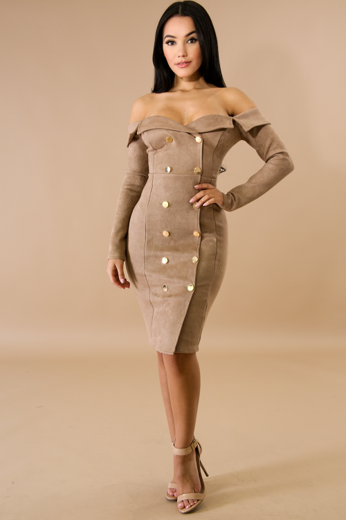 Suede Button Up Body-Con Dress
