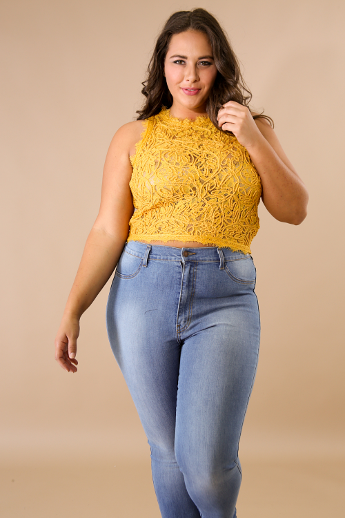Floral Lace Mock Neck Sleeveless Top