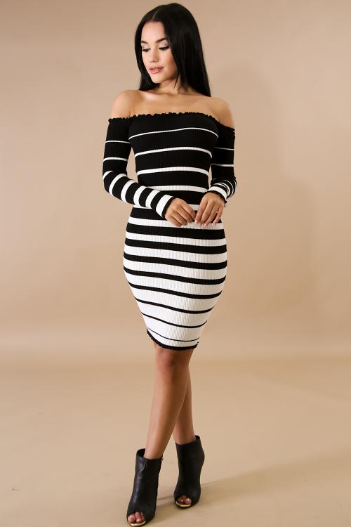 Scallop Striped Knit Body-Con Dress