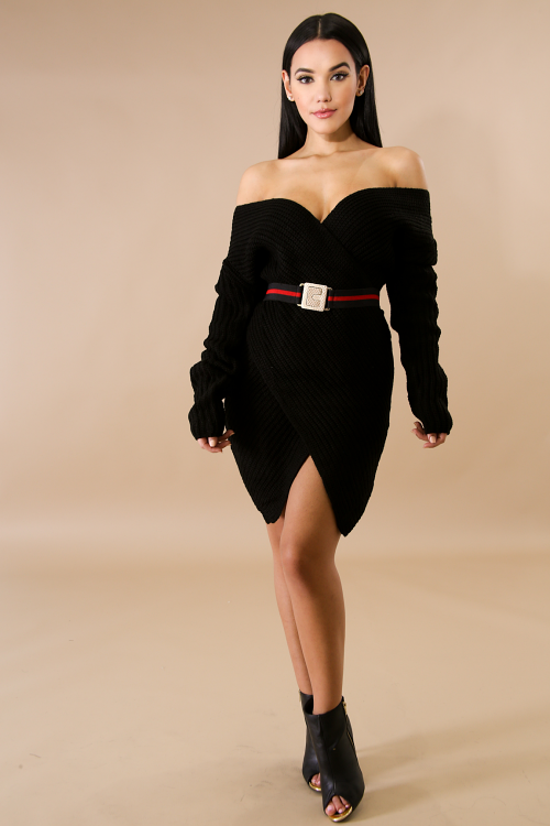 Overlay Knit Sweater Dress