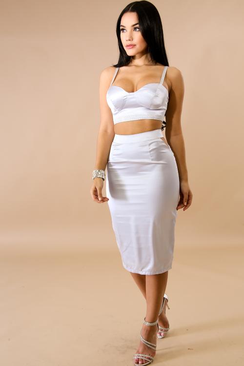 Silky Rhinestone Body-Con Dress