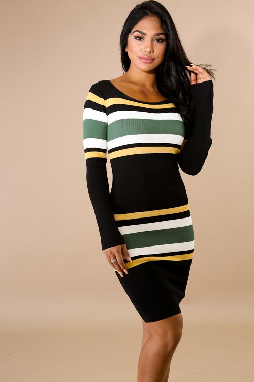 Trim Stripe Knit Midi Dress