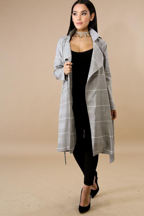 Plaid Long-line Trench Coat