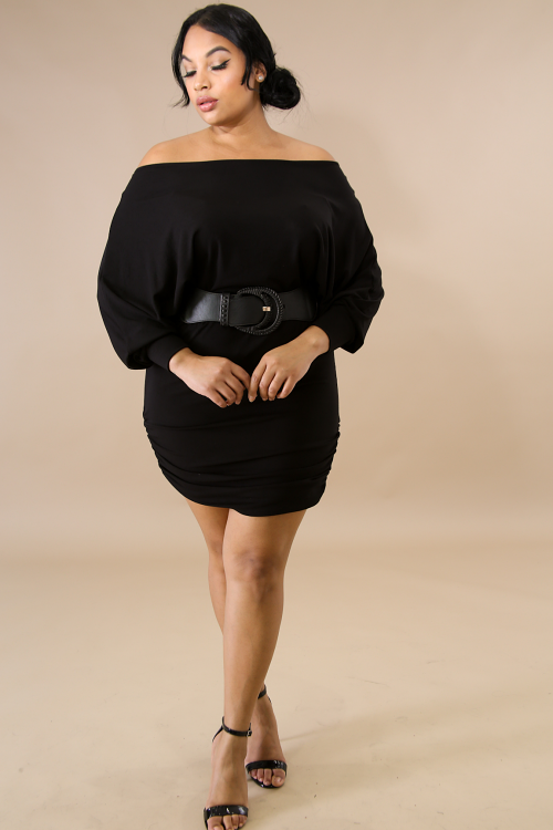 Scrunched Jersey Knit Body-Con Dress