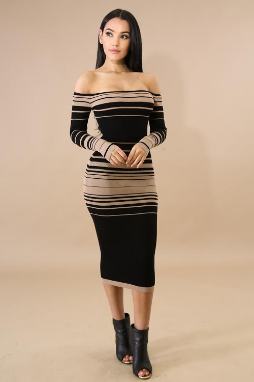 Long Sleeve Knit Stripe Midi Dress
