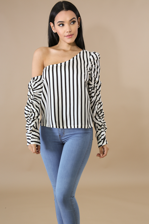 Striped Shaggy Silky Top