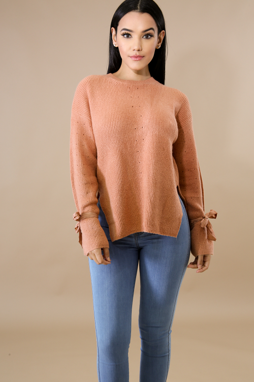 Tie Dots Sweater Knit Top