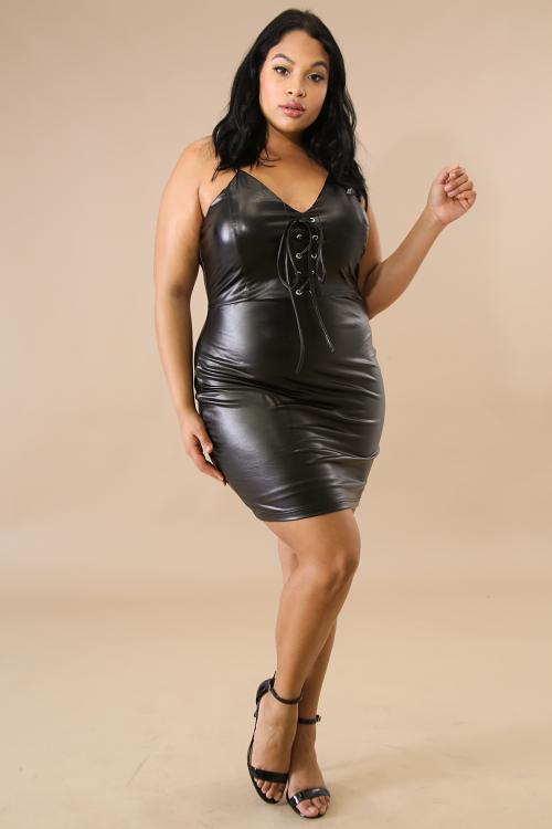 Leatherette Corset Body-Con Dress