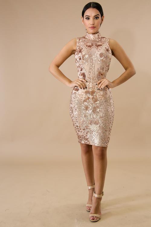 Mock Sheer Sequin Body-Con Dress