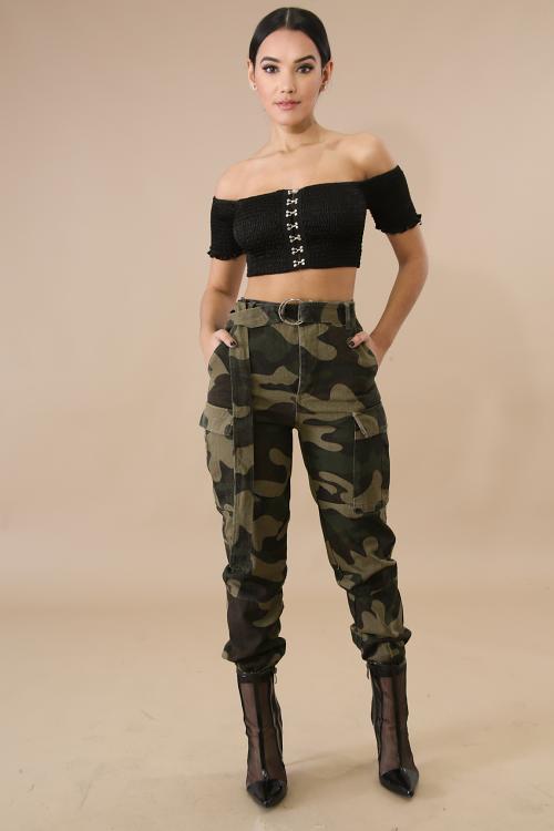 High Waist Heavy Camouflage Jeans