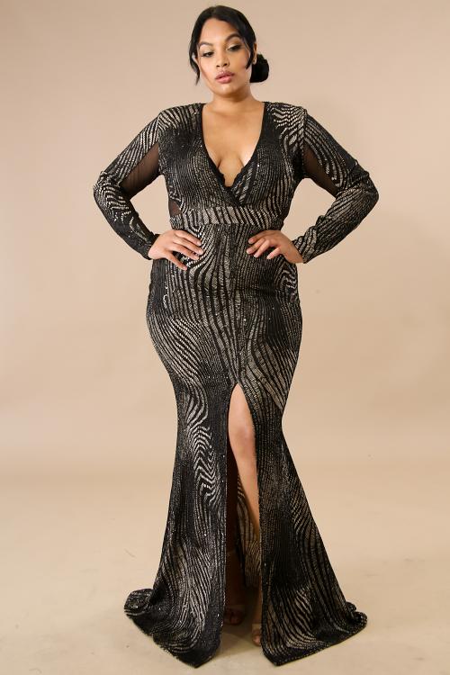 Sequin Sheer Trim Long Maxi Dress