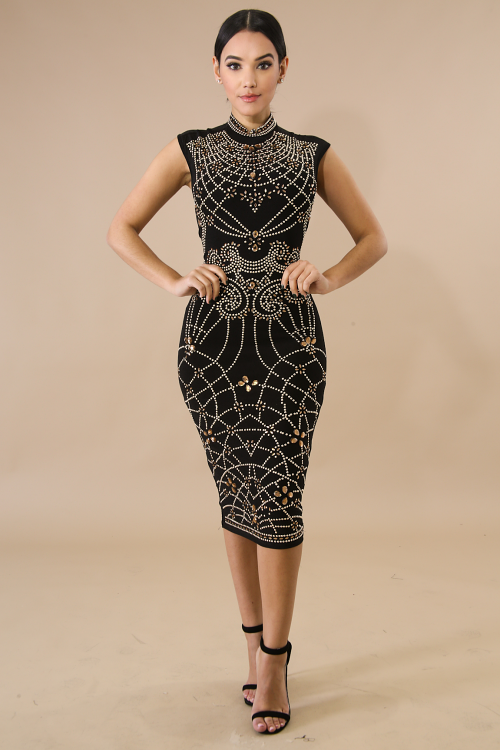 Stud Jewel Body-Con Dress