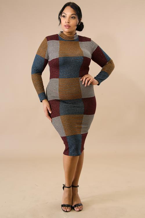 Metallic Squared Sweater Dress