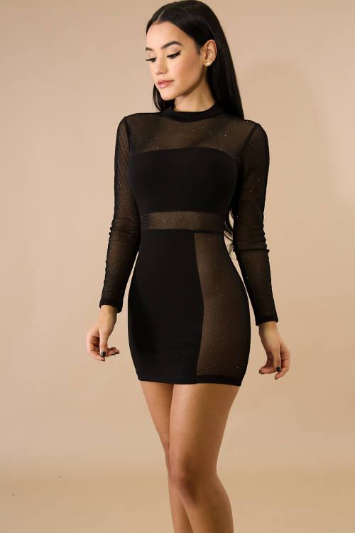 Side Mesh Sparks Body-Con Dress