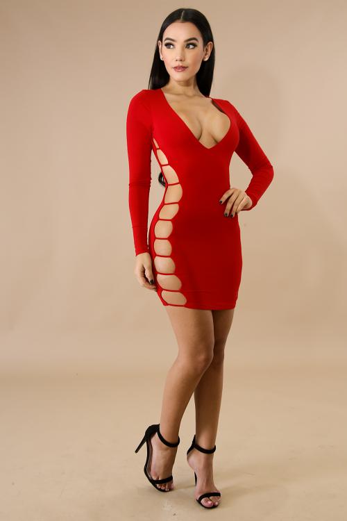Ladder Jersey Body-Con Dress
