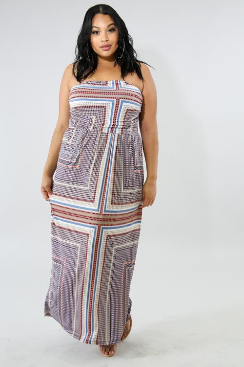 Street Flowy Strapless Maxi Dress