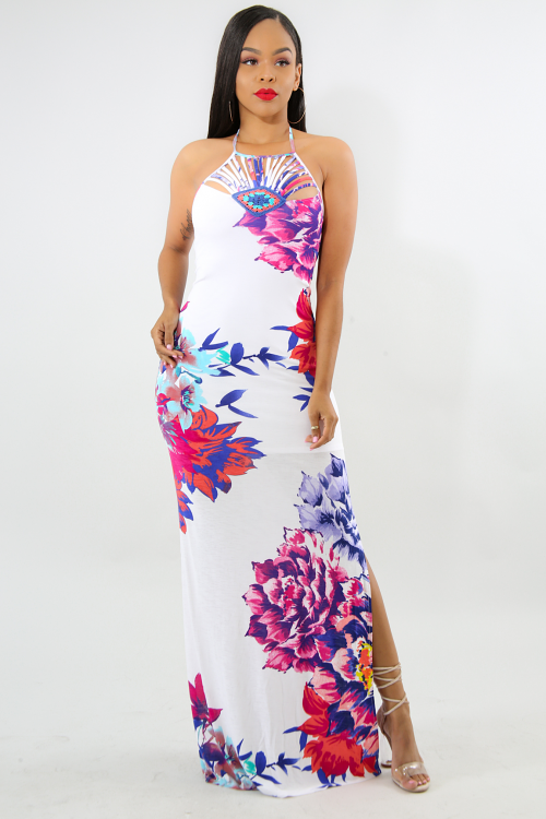 Embroidered Floral Slit Spring Dress