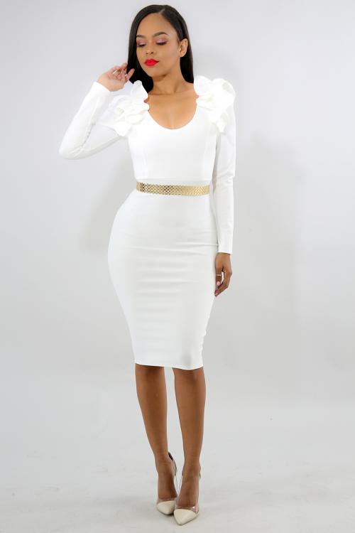 Scrunched Pleat Body-Con Dress