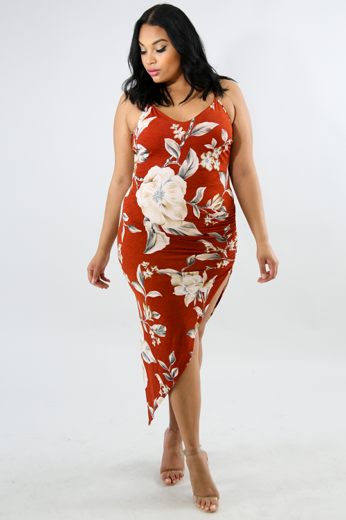 Floral Scrunched Edge Maxi Dress