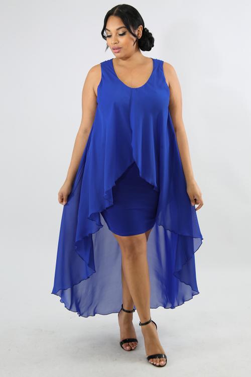 Sheer Flare Body-Con Dress