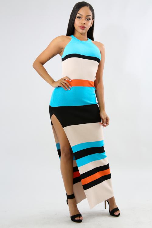 Slit Rib Knit Maxi Dress