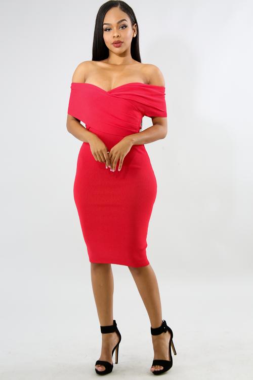 Cross Knit Midi Body-Con Dress