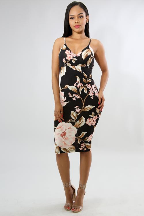 Floral Drape Back Body-Con Dress