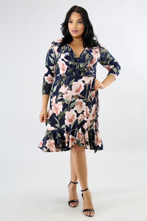 Floral Flare Overlap Dress