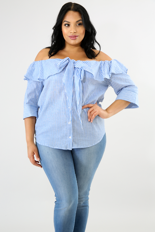 Flare Striped Button Up Top