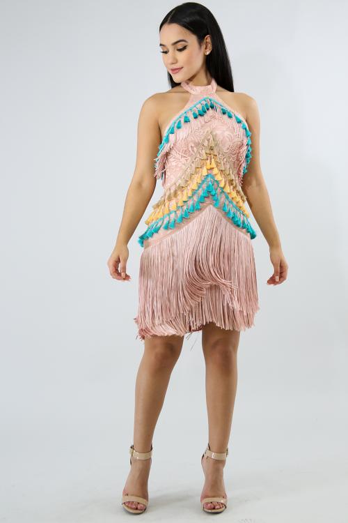 Tassel Fringe Body con Dress