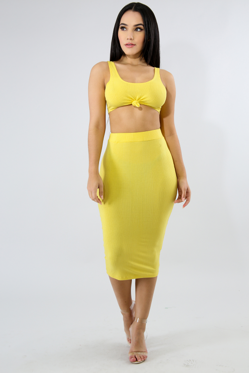 Twist Jersey Knit Skirt Set