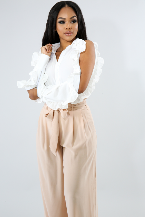 Ruffle Statement Sleeve Button-Up Top