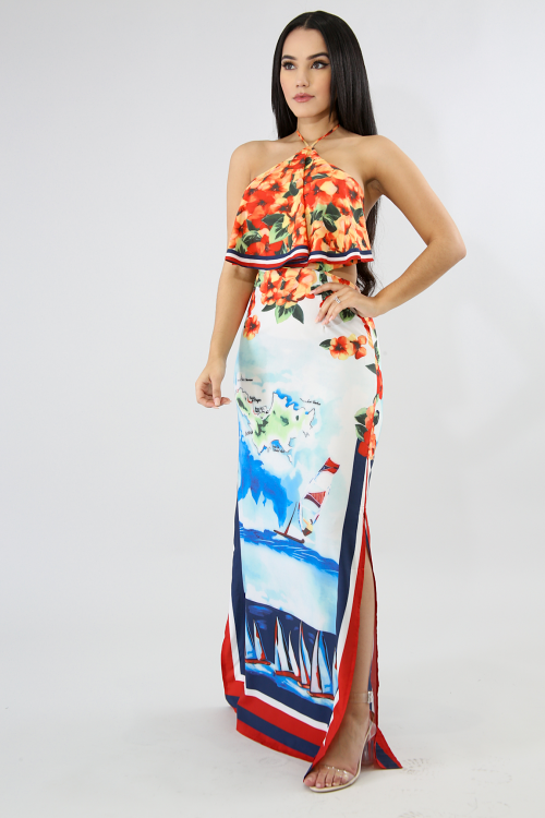 Orchids Slit Maxi Dress