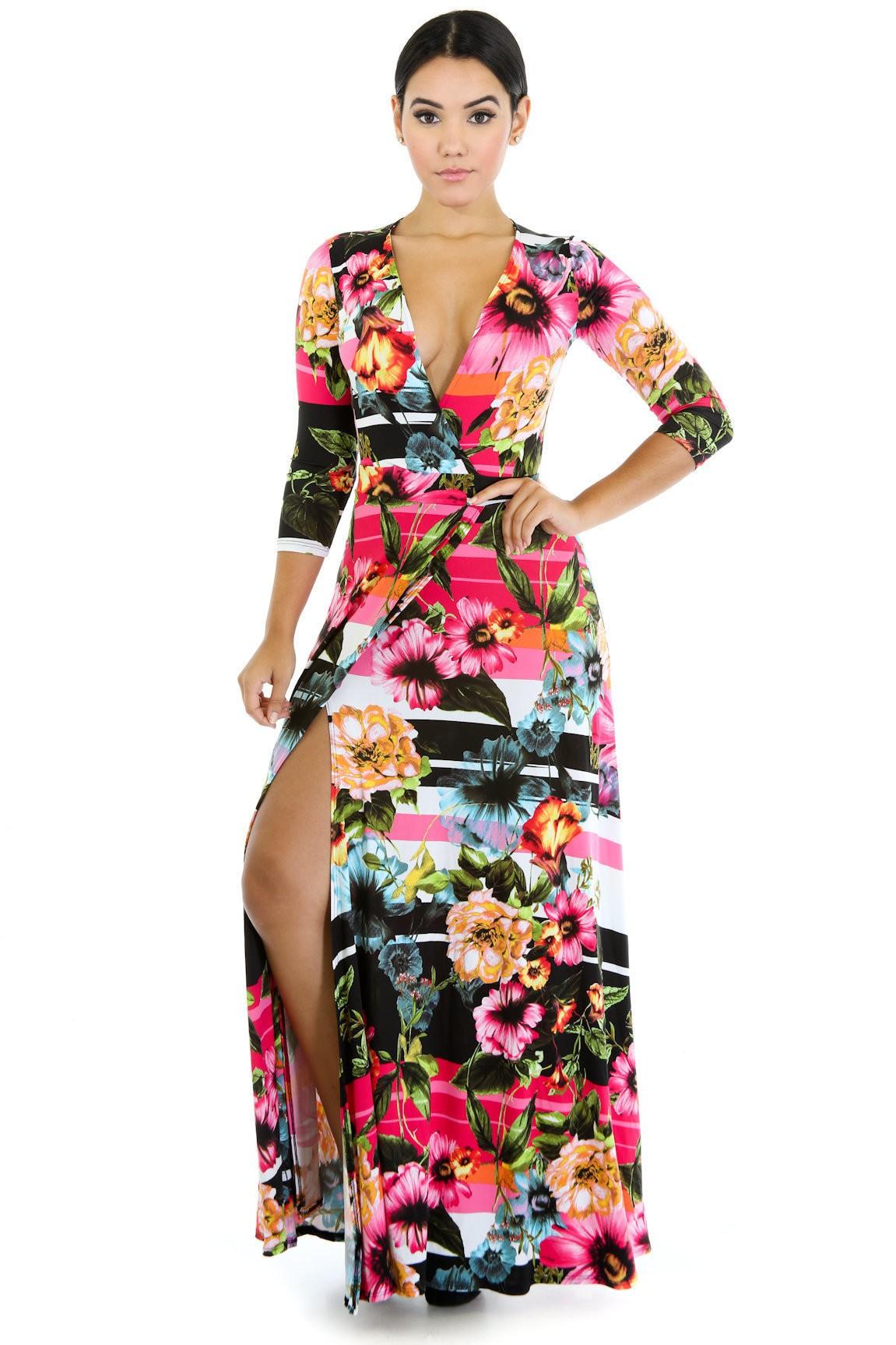 Floral Hidden Stripes Maxi Dress
