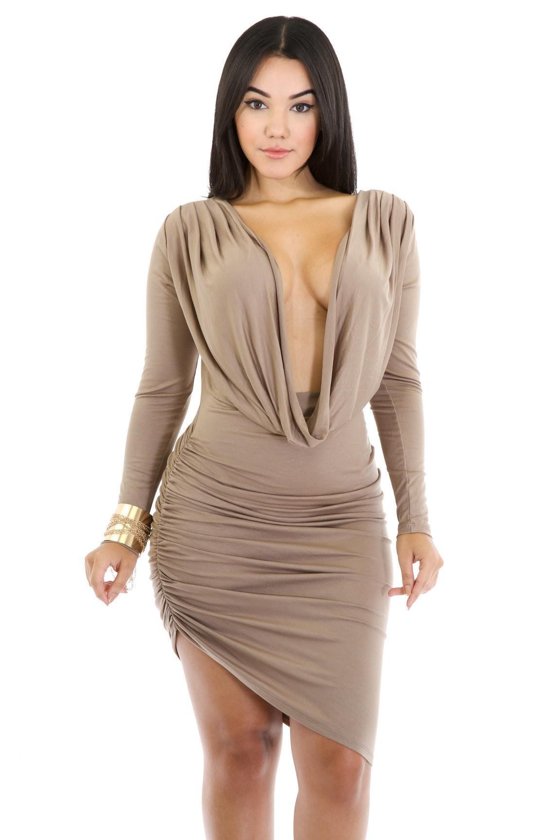 Exposed Draped Dress