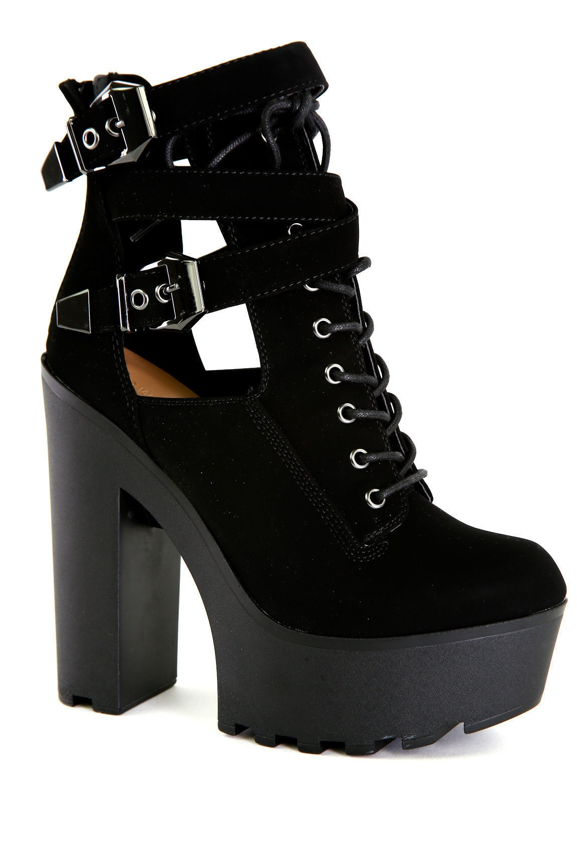 Black Lace-up Lug Booties
