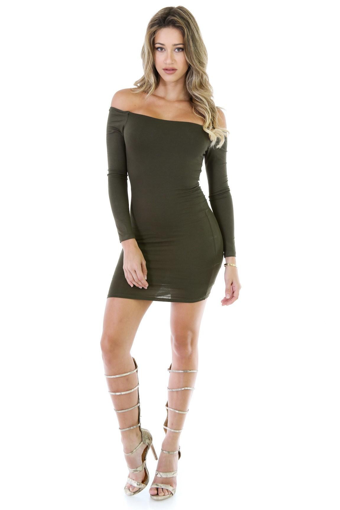 No Pressure Off The Shoulder Dress