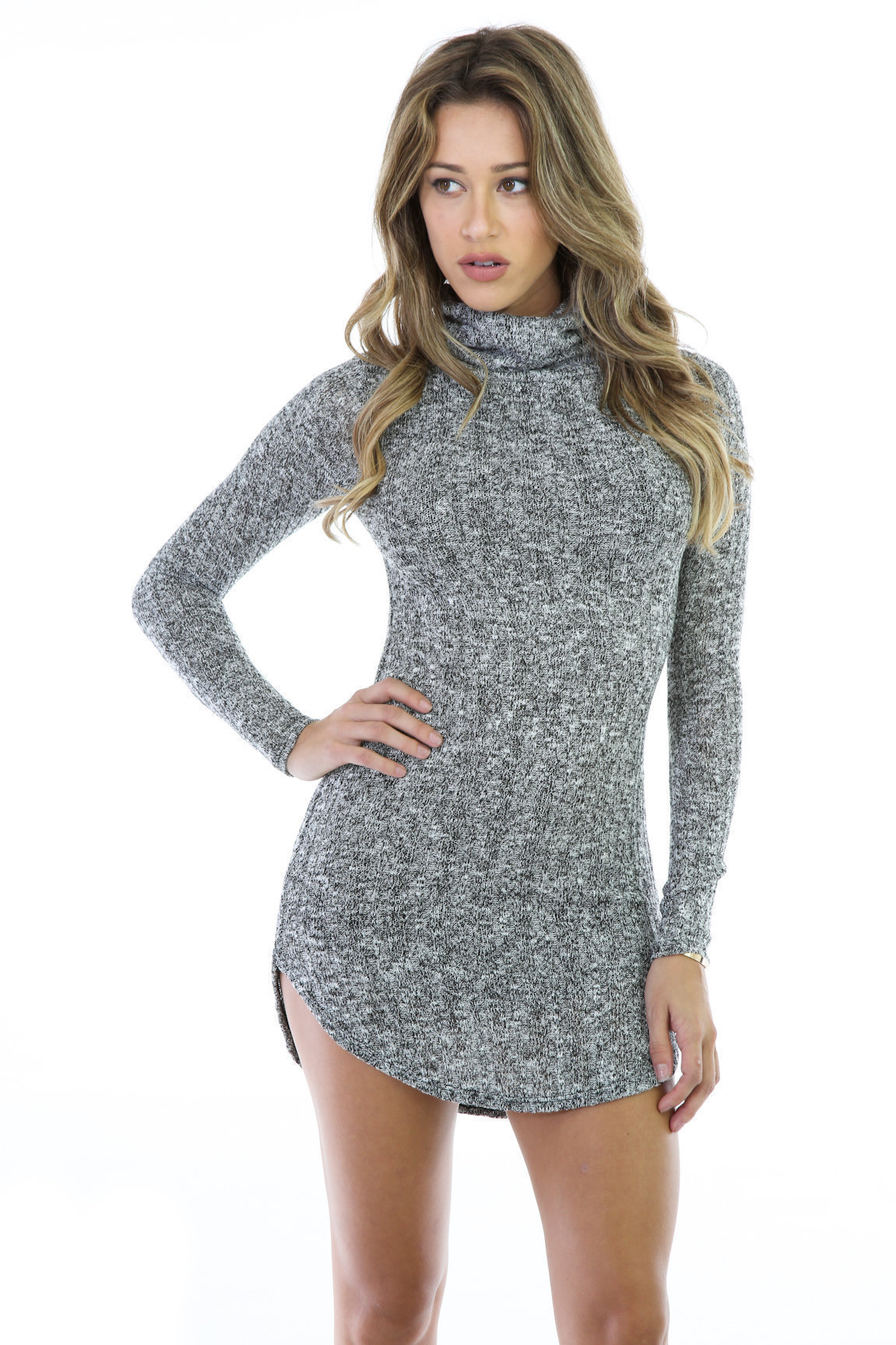 Cowl Neck Sweater Bodycon Dress