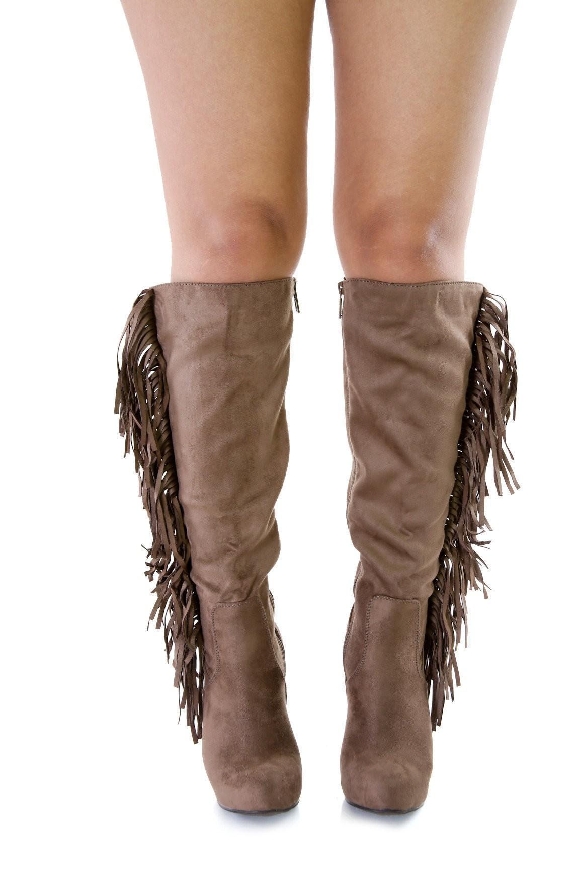 Fringe Wild West Knee High Boots