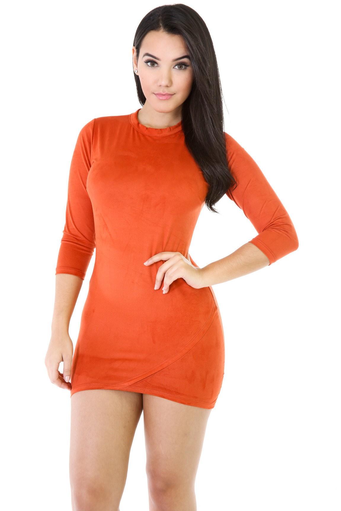 Lesson In Asymmetry Faux Suede Dress