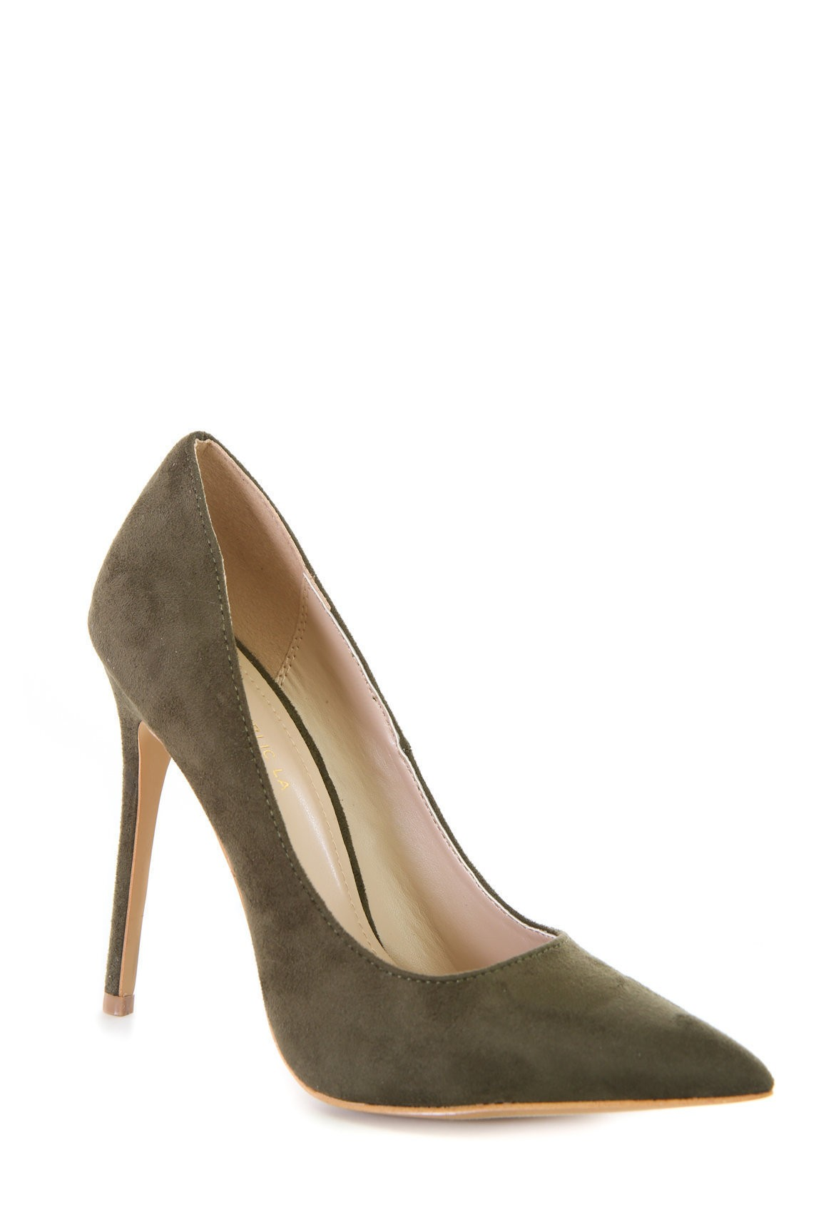 Olive Suede Pointy Toe Pump